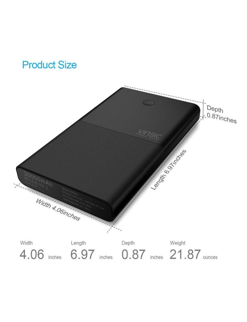 Batería Externa o Power bank VINSIC de 30000mah para Tablet, notebook, celulares y otros