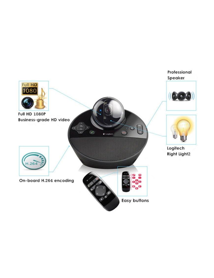 Logitech Camara para videoconferencia BCC950, FullHD, Audio H,264, USB, 1920x1080, webcam